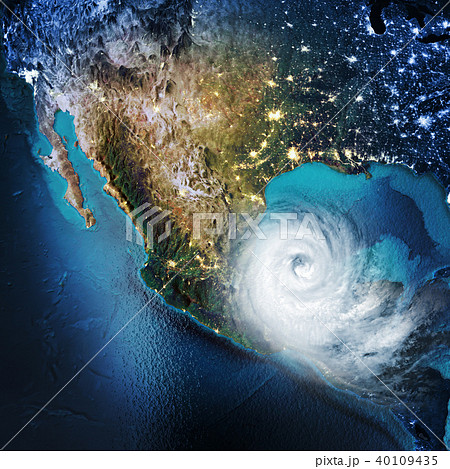 Cyclone weather Mexico, North America, USA. 3D rendering 40109435