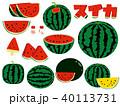 いろいろな種類のシンプルなスイカのイラスト 40113731