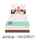 起きる シニア 女性 イラスト 40120617