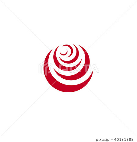 Red abstract rose, vector logo template on white background. Stylish flower illustration, circular 40131388