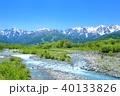 新緑の松川と北アルプスの山並み 40133826