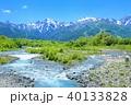 新緑の松川と北アルプスの山並み 40133828