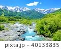 新緑の白馬、松川と白馬三山 40133835