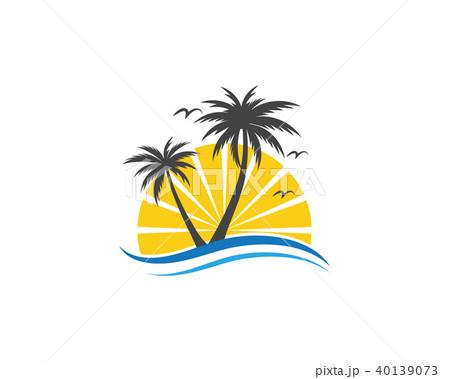 palm tree summer logo templateのイラスト素材 40139073 pixta