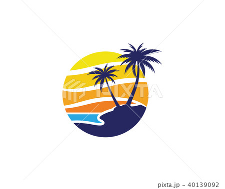 palm tree summer logo templateのイラスト素材 40139092 pixta