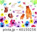 動物 花 水彩のイラスト 40150256