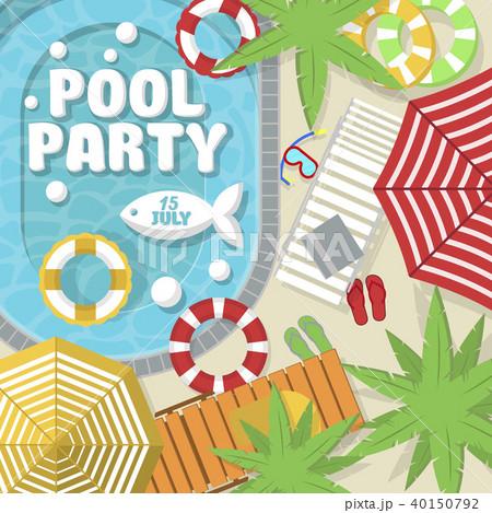 summer pool party invitation layoutのイラスト素材 40150792 pixta
