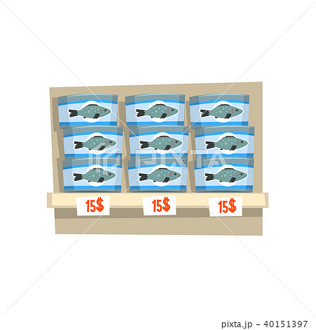 Canned fish on store shelf, seafood production, fish industry canned process vector Illustration on 40151397