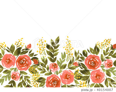 hand painted watercolor loose flowers templateのイラスト素材