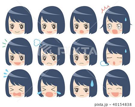 顔アイコン女の子のイラスト素材 40154838 Pixta