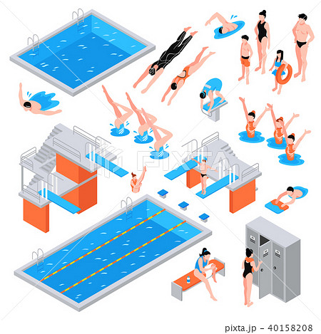 Swimming Pool Isometric Elements 40158208