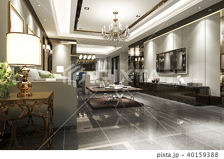 luxury and modern living room and dining room 40159388