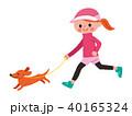 犬とジョギングする女性 40165324
