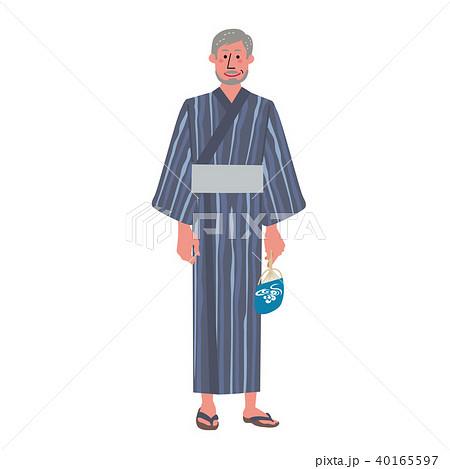 浴衣のシニア 男性 イラスト 40165597