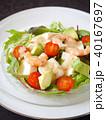 豆腐とエビのサラダ 黒背景 (縦位置アップ) 40167697