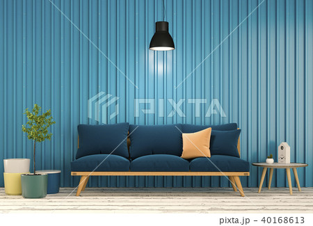 3D rendering of interior room with sofa, laptop co 40168613