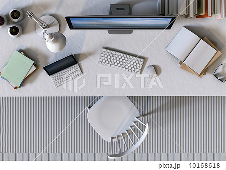 top view working area Desktop computer. 3d render 40168618