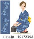 女性 浴衣 バッグのイラスト 40172398