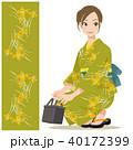 女性 浴衣 バッグのイラスト 40172399