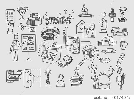 Hand draw doodle elements. Business finance analytics earnings 40174077