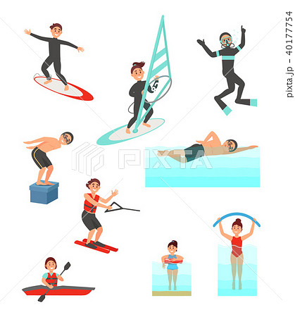 flat vector set with young people involved in various water sports
