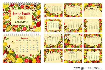 calendar template with exotic tropical fruit frameのイラスト素材