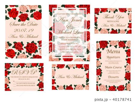 wedding ceremony invitation card with rose flowerのイラスト素材