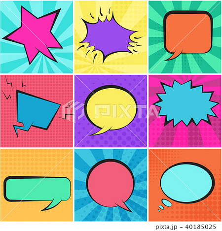 Set of color retro speech bubbles with backgrounds 40185025