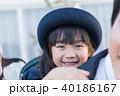 女の子、親子、幼稚園児、おんぶ 40186167