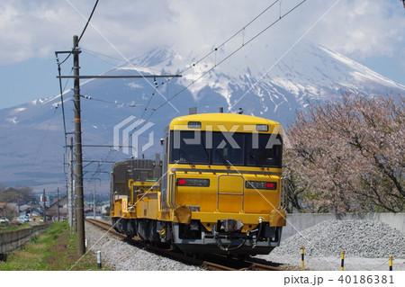 御殿場線 御殿場付近の富士山と桜(キヤ97工事列車) 40186381