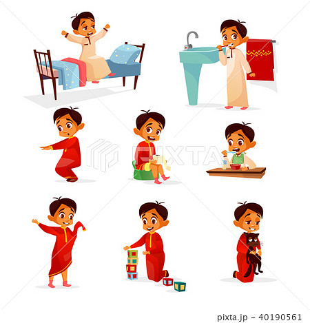 Muslim boy kid daily routine vector cartoon illustration 40190561