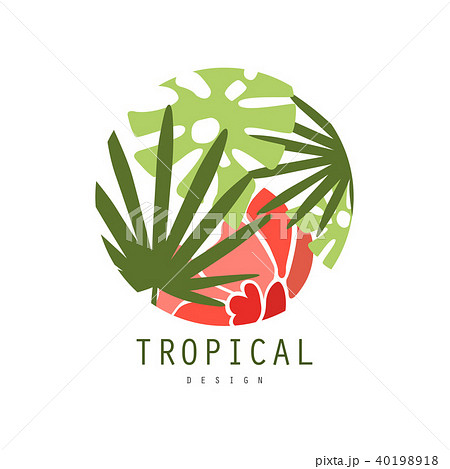 tropical logo template design round badge with palm leaves and red