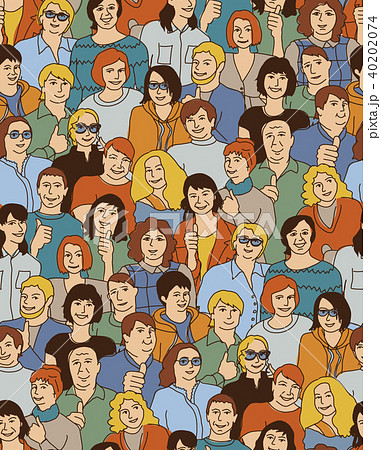 Happy like adult big group casual people seamless pattern 40202074