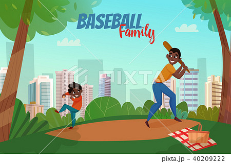 Fatherhood Baseball Illustration 40209222
