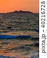 軍艦島の夕陽 ながさきサンセットロード 【長崎県長崎市高浜町】 40216728