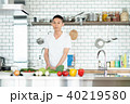 料理男子 男性 キッチンの写真 40219580