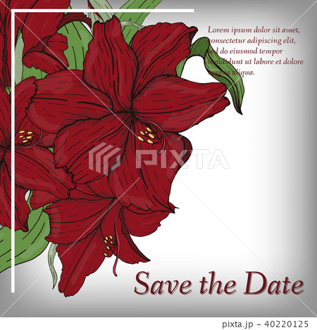 flower invitation save the date card templateのイラスト素材