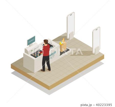 Supermarket Shopping Technology Isometric 40223395