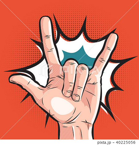 comic hand showing sign of horns. pop art rock gesture on halftone background 40225056