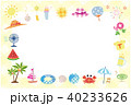 夏素材 パターン生地風 フレーム ポストカード 背景  40233626