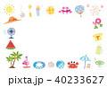 夏素材 パターン生地風 フレーム ポストカード 背景  40233627