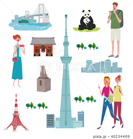 インバウンド イラスト 観光客 東京 セット 40234409