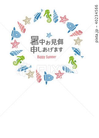 魚と貝の海のリース、暑中見舞いイラスト 40234566