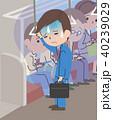電車で体調不良のビジネスマン 40239029