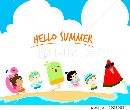 hello summer multicultural kids template vectorのイラスト素材