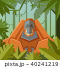 Flat geometric jungle background with Orangutan 40241219