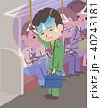 電車で体調不良のビジネスマン 40243181