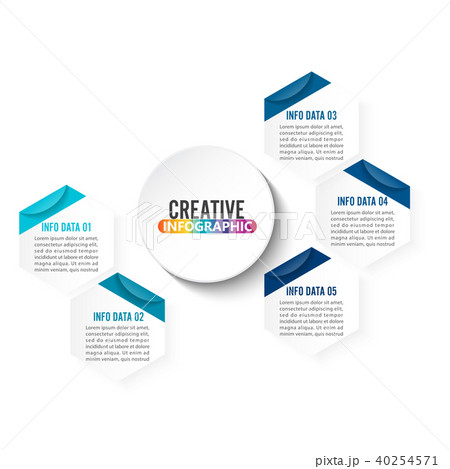 abstract infographics number 5 options template のイラスト素材