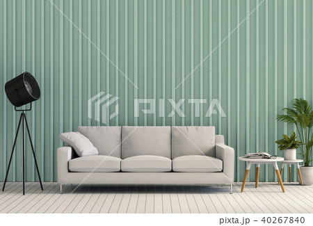living room with metal sheet wall. 3d render 40267840