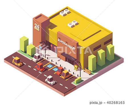 Vector isometric low poly supermarket 40268163